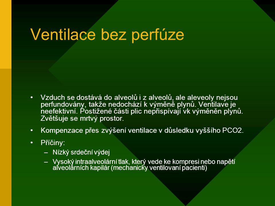 Ventilace bez perfúze Vzduch se dostává do alveolů i z alveolů, ale aleveoly nejsou perfundovány, takže nedochází k výměně plynů. Ventilave je neefekt