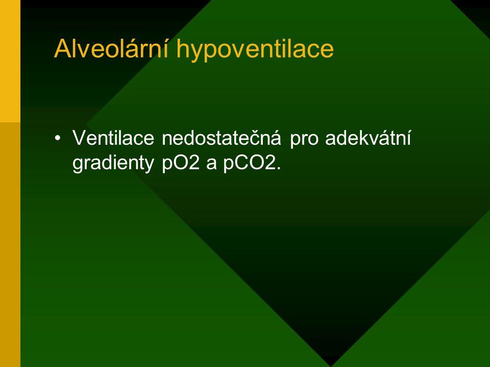 Alveolární hypoventilace Ventilace nedostatečná pro adekvátní gradienty pO2 a pCO2.