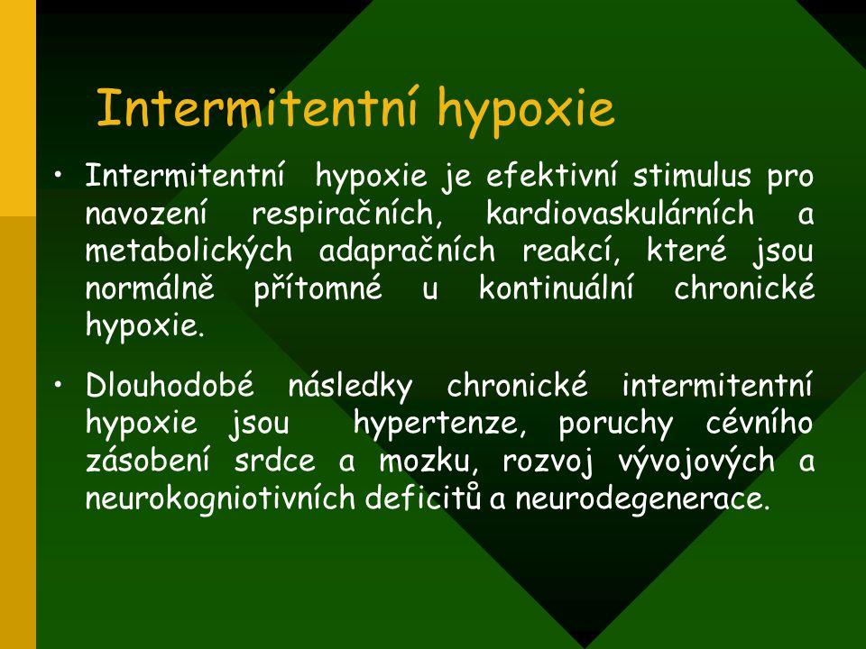 Intermitentní hypoxie Intermitentní hypoxie je efektivní stimulus pro navození respiračních, kardiovaskulárních a metabolických adapračních reakcí, kt