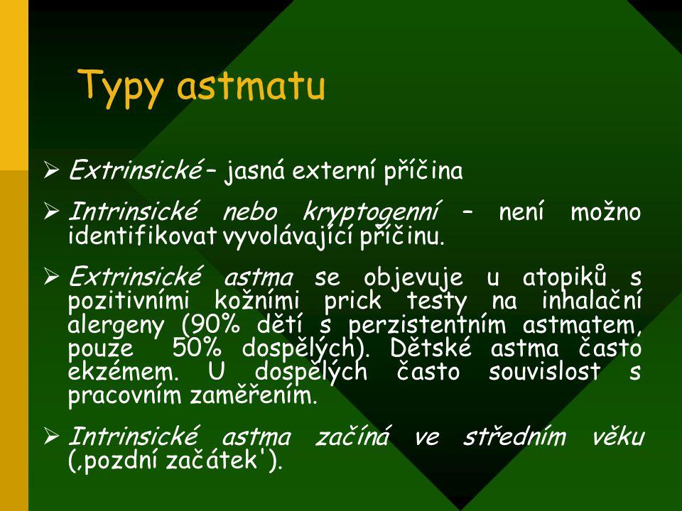 Typy astmatu  Extrinsické – jasná externí příčina  Intrinsické nebo kryptogenní – není možno identifikovat vyvolávající příčinu.  Extrinsické astma