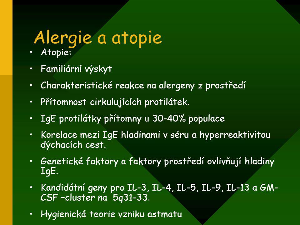 Alergie a atopie Atopie: Familiární výskyt Charakteristické reakce na alergeny z prostředí Přítomnost cirkulujících protilátek. IgE protilátky přítomn