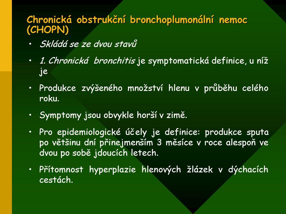 Chronická obstrukční bronchoplumonální nemoc (CHOPN) Skládá se ze dvou stavů 1. Chronická bronchitis je symptomatická definice, u níž je Produkce zvýš