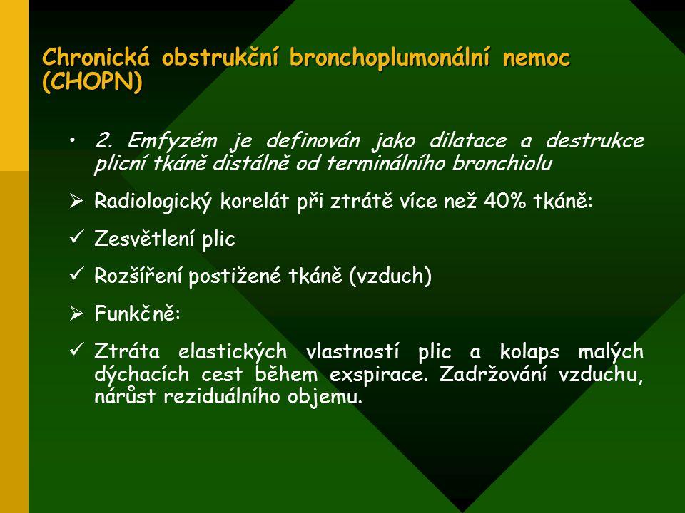 Chronická obstrukční bronchoplumonální nemoc (CHOPN) 2. Emfyzém je definován jako dilatace a destrukce plicní tkáně distálně od terminálního bronchiol