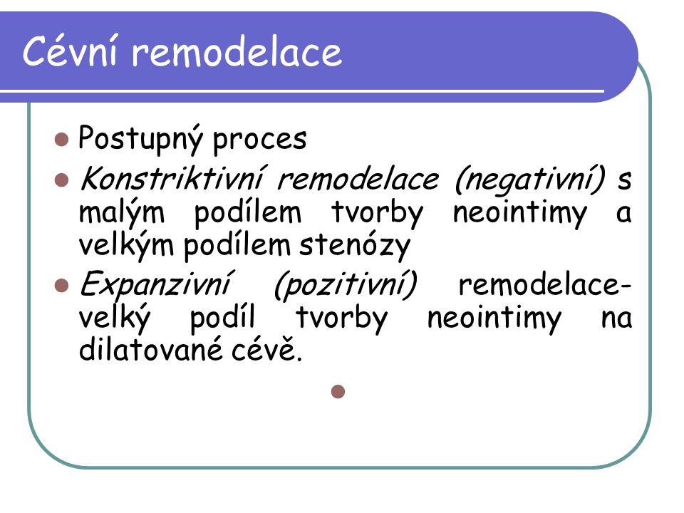 Cévní remodelace Postupný proces Konstriktivní remodelace (negativní) s malým podílem tvorby neointimy a velkým podílem stenózy Expanzivní (pozitivní)