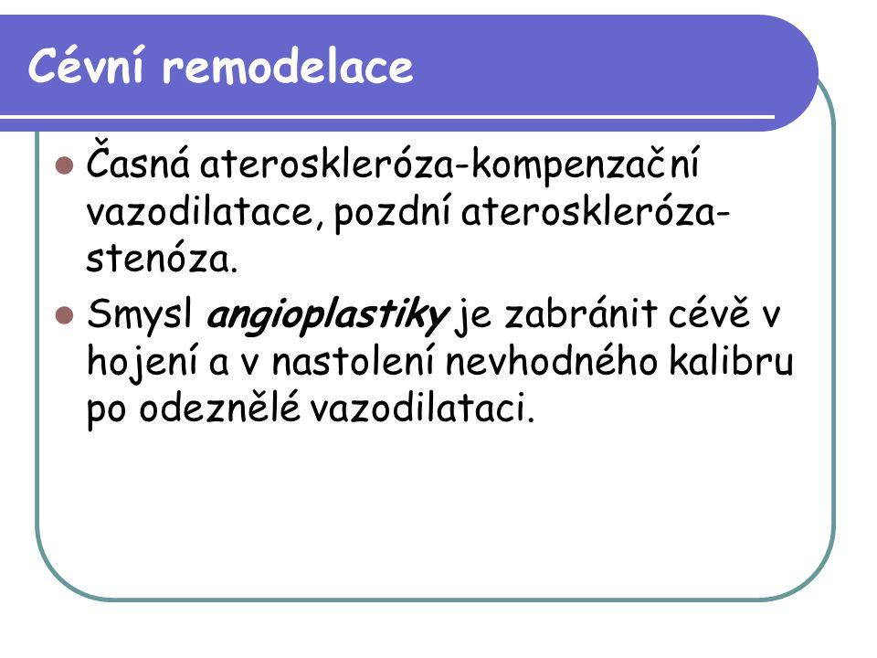 Cévní remodelace Časná ateroskleróza-kompenzační vazodilatace, pozdní ateroskleróza- stenóza. Smysl angioplastiky je zabránit cévě v hojení a v nastol