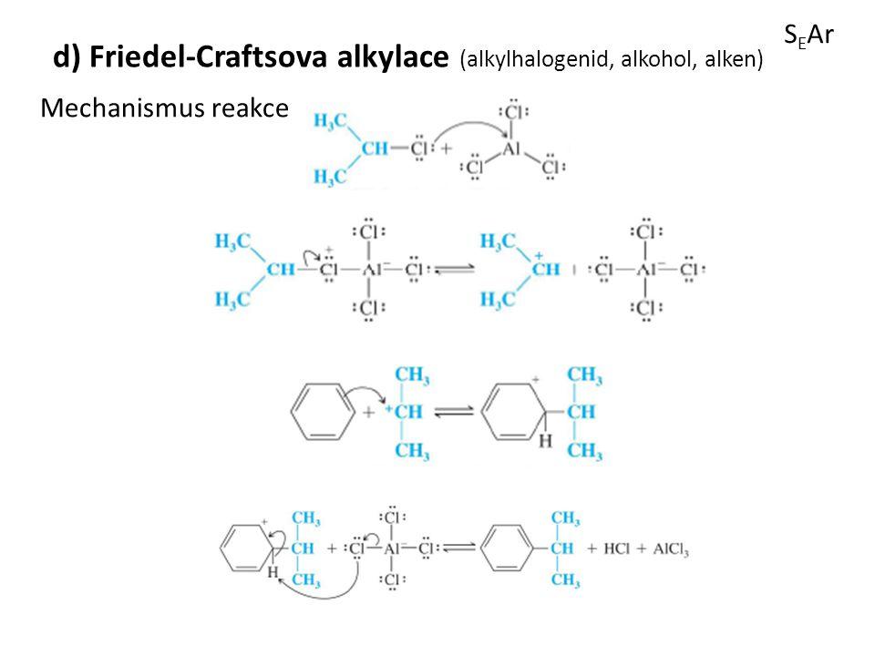 S E Ar d) Friedel-Craftsova alkylace (alkylhalogenid, alkohol, alken) Mechanismus reakce
