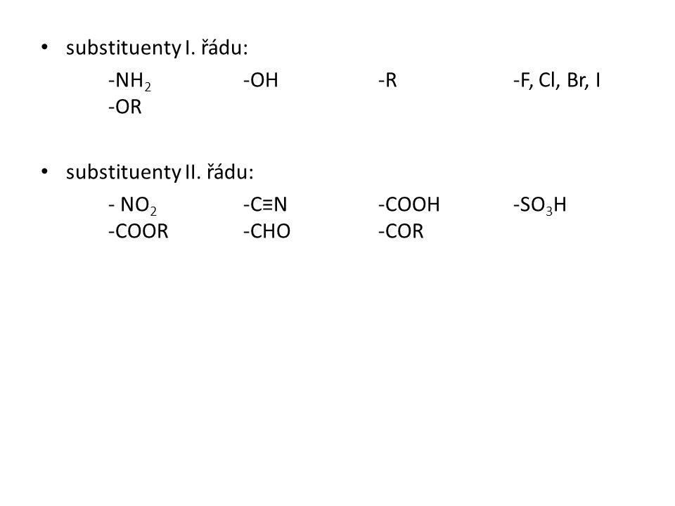 substituenty I. řádu: -NH 2 -OH -R-F, Cl, Br, I -OR substituenty II. řádu: - NO 2 -C≡N-COOH-SO 3 H -COOR-CHO-COR