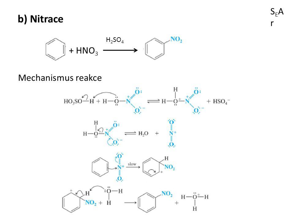 SEArSEAr b) Nitrace + HNO 3 H 2 SO 4 Mechanismus reakce