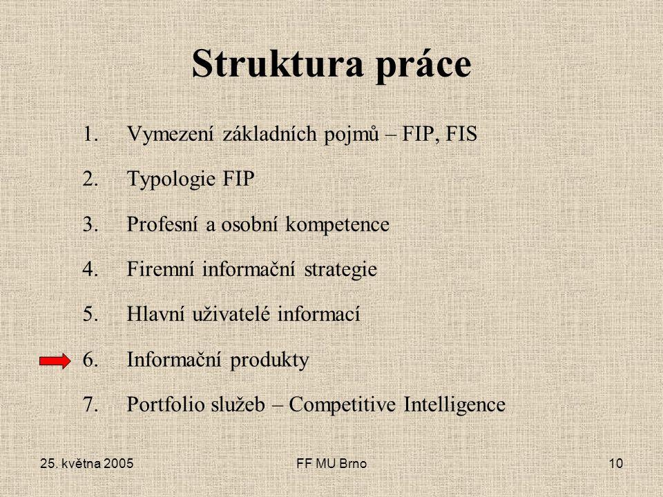 25. května 2005FF MU Brno10 Struktura práce 1.Vymezení základních pojmů – FIP, FIS 2.Typologie FIP 3.Profesní a osobní kompetence 4.Firemní informační