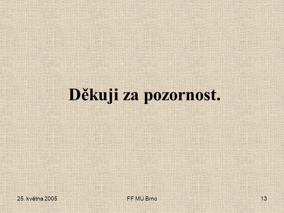 25. května 2005FF MU Brno13 Děkuji za pozornost.
