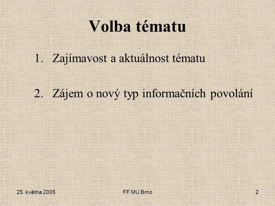 FF MU Brno2 Volba tématu 1.Zajímavost a aktuálnost tématu 2.Zájem o nový typ informačních povolání
