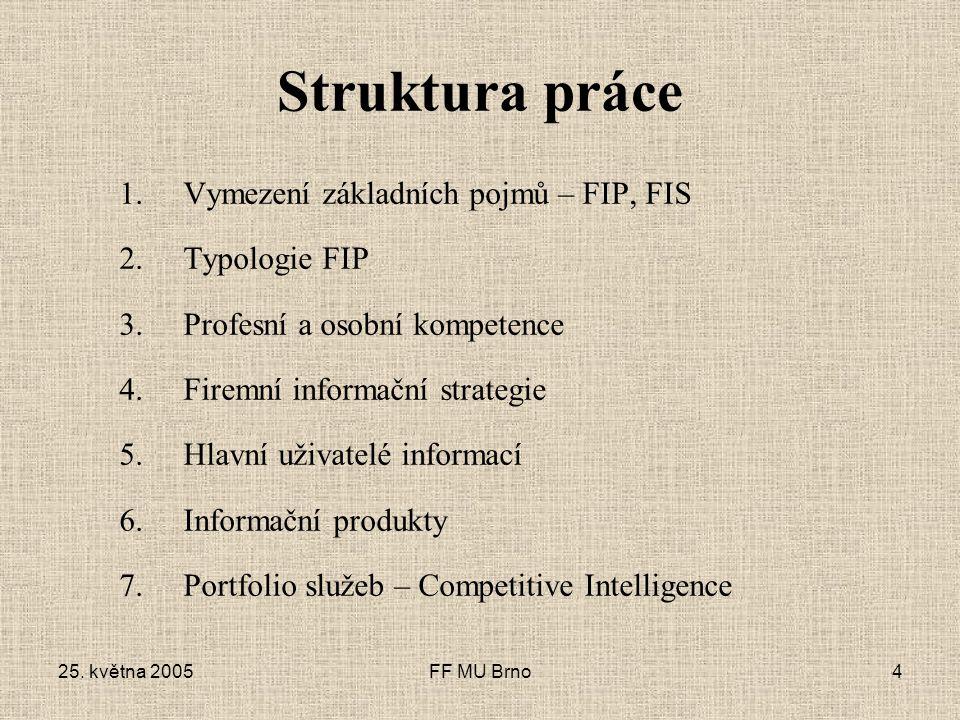 25. května 2005FF MU Brno4 Struktura práce 1.Vymezení základních pojmů – FIP, FIS 2.Typologie FIP 3.Profesní a osobní kompetence 4.Firemní informační