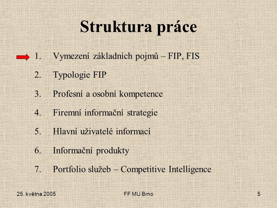 25. května 2005FF MU Brno5 Struktura práce 1.Vymezení základních pojmů – FIP, FIS 2.Typologie FIP 3.Profesní a osobní kompetence 4.Firemní informační