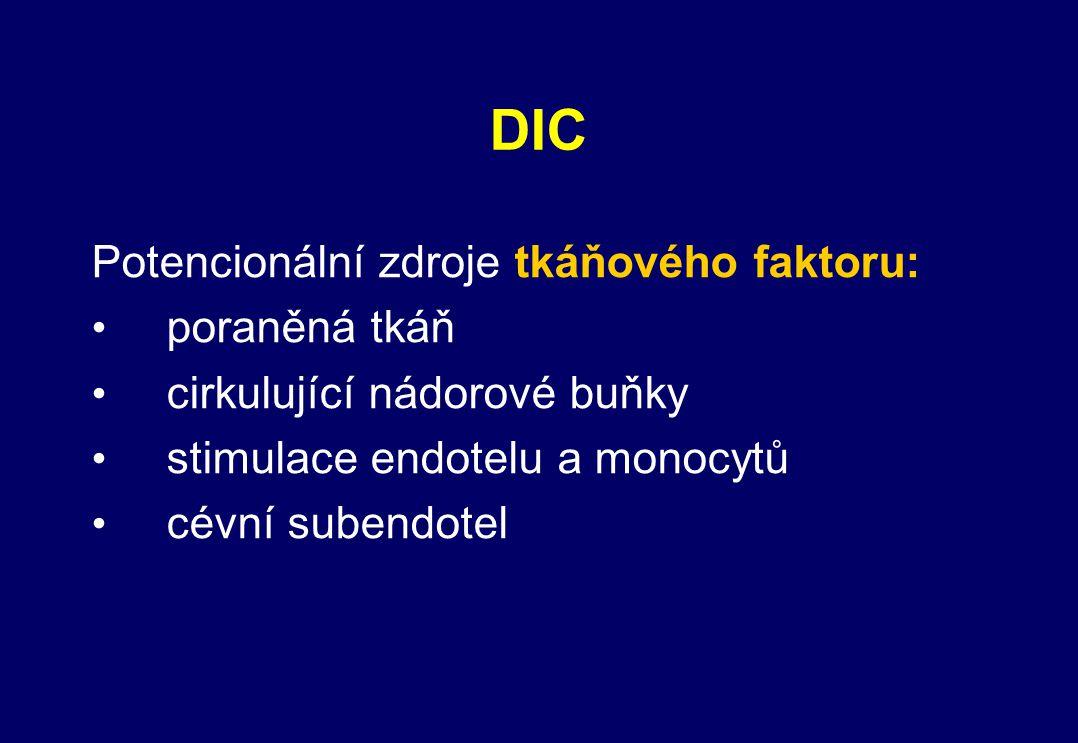 DIC Potencionální zdroje tkáňového faktoru: poraněná tkáň cirkulující nádorové buňky stimulace endotelu a monocytů cévní subendotel
