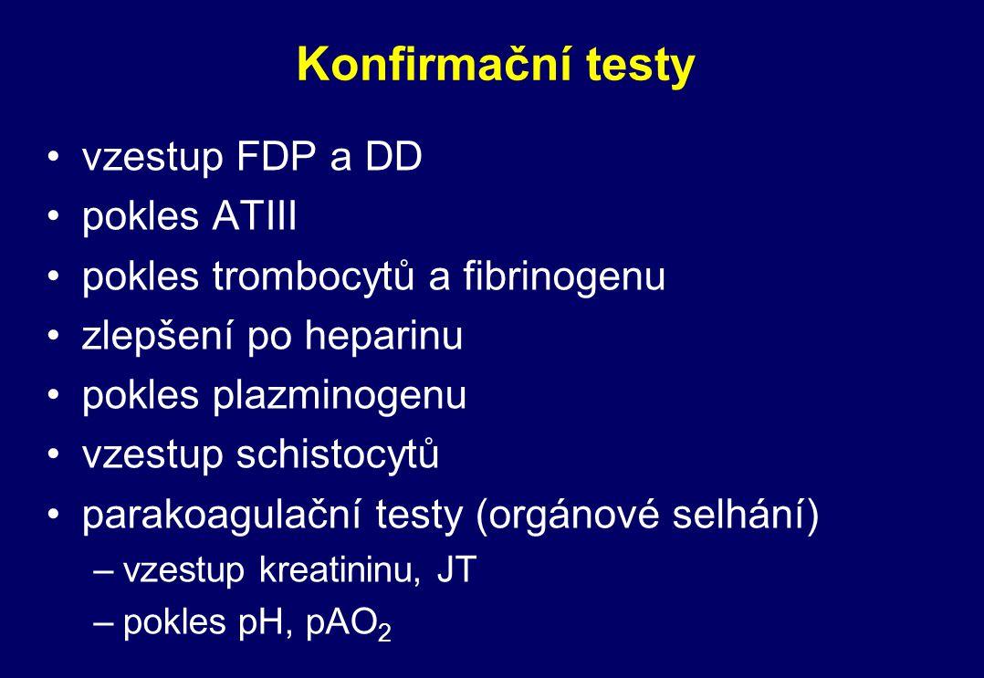 Konfirmační testy vzestup FDP a DD pokles ATIII pokles trombocytů a fibrinogenu zlepšení po heparinu pokles plazminogenu vzestup schistocytů parakoagu
