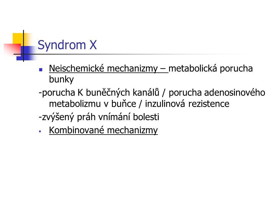 Syndrom X Neischemické mechanizmy – metabolická porucha bunky -porucha K buněčných kanálů / porucha adenosinového metabolizmu v buňce / inzulinová rez