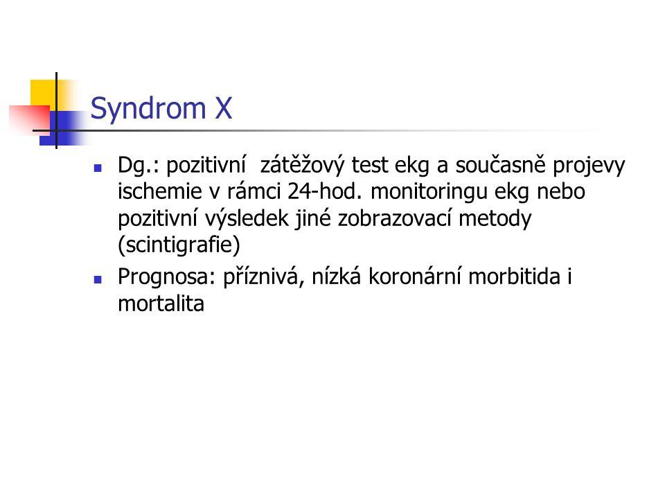 Syndrom X Dg.: pozitivní zátěžový test ekg a současně projevy ischemie v rámci 24-hod. monitoringu ekg nebo pozitivní výsledek jiné zobrazovací metody