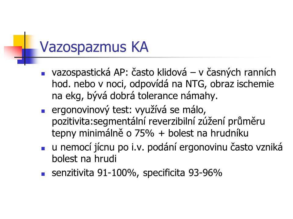 Vazospazmus KA vazospastická AP: často klidová – v časných ranních hod. nebo v noci, odpovídá na NTG, obraz ischemie na ekg, bývá dobrá tolerance náma
