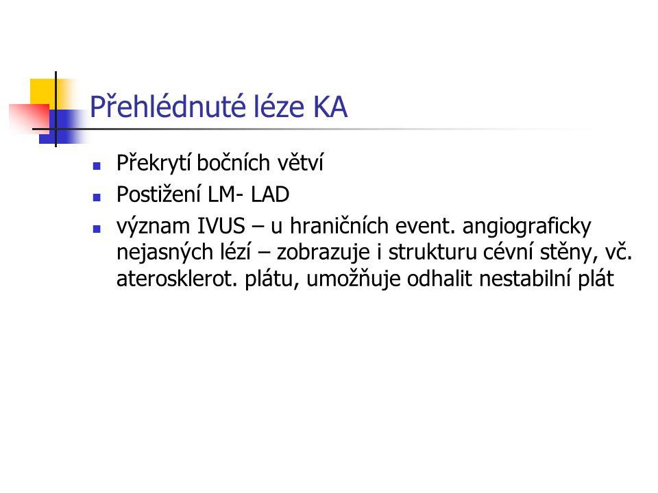 Přehlédnuté léze KA Překrytí bočních větví Postižení LM- LAD význam IVUS – u hraničních event. angiograficky nejasných lézí – zobrazuje i strukturu cé