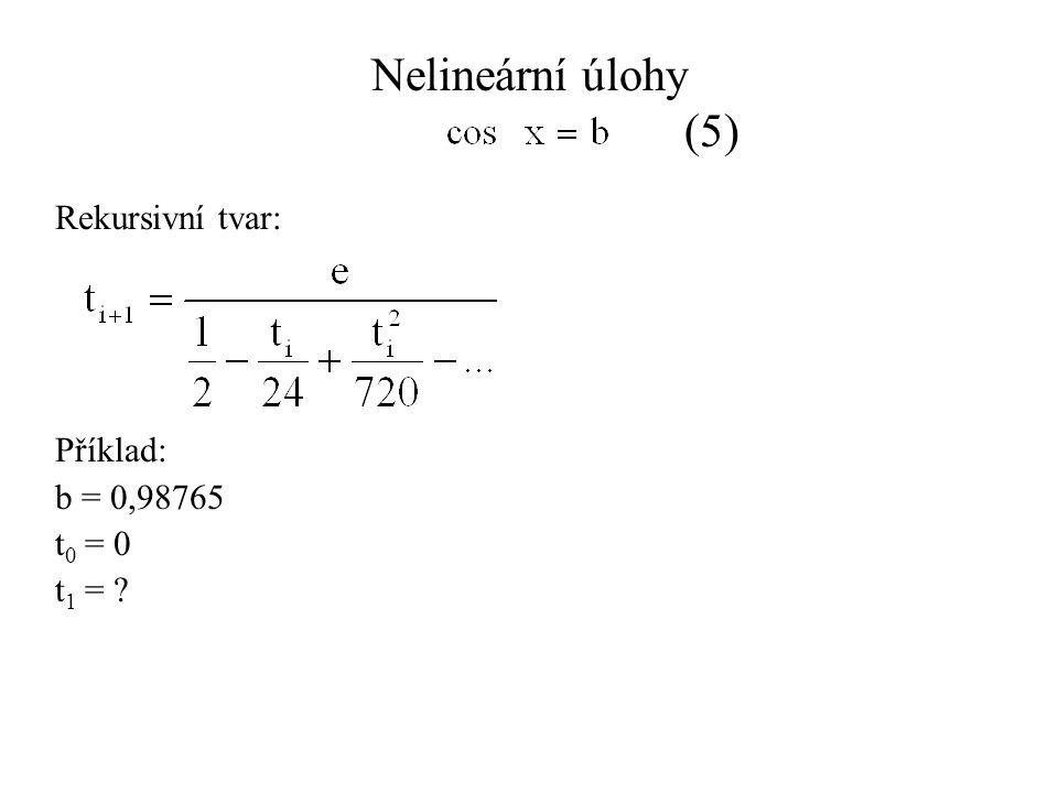 Nelineární úlohy (5) Rekursivní tvar: Příklad: b = 0,98765 t 0 = 0 t 1 =