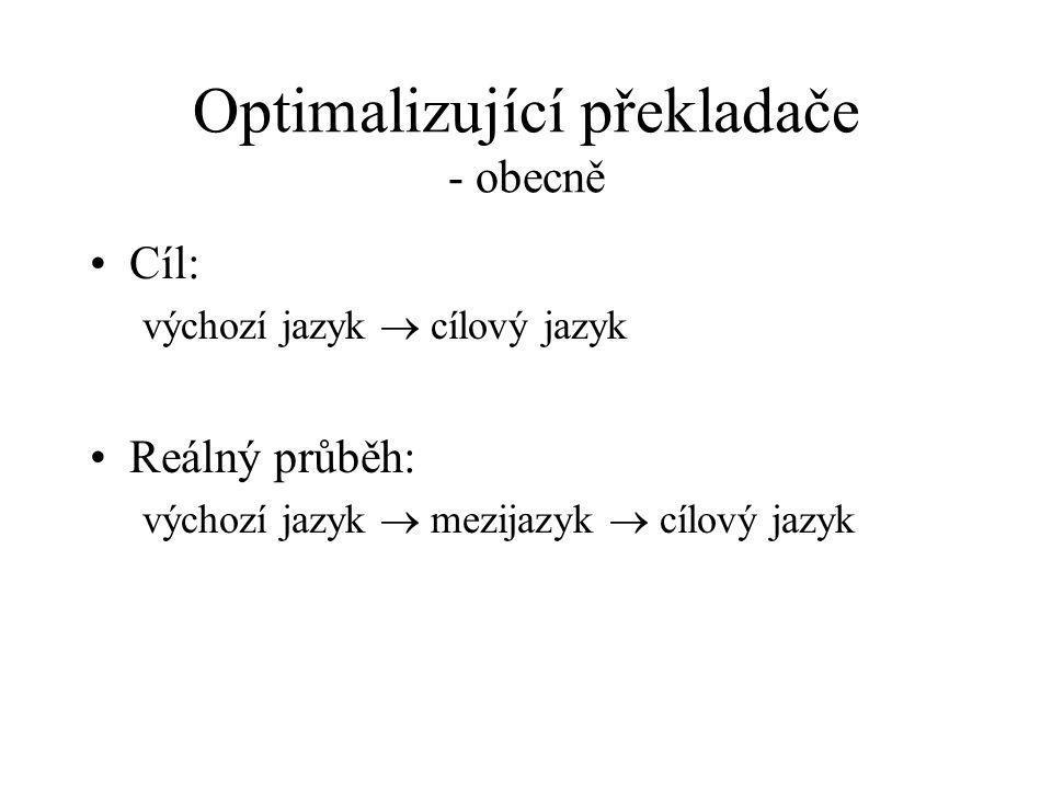 Optimalizující překladače - obecně Cíl: výchozí jazyk  cílový jazyk Reálný průběh: výchozí jazyk  mezijazyk  cílový jazyk