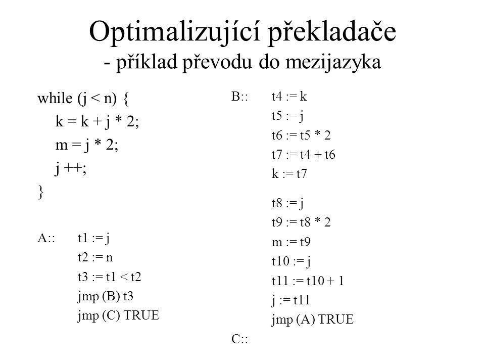 Optimalizující překladače - příklad převodu do mezijazyka while (j < n) { k = k + j * 2; m = j * 2; j ++; } B::t4 := k t5 := j t6 := t5 * 2 t7 := t4 + t6 k := t7 t8 := j t9 := t8 * 2 m := t9 t10 := j t11 := t10 + 1 j := t11 jmp (A) TRUE C:: A::t1 := j t2 := n t3 := t1 < t2 jmp (B) t3 jmp (C) TRUE