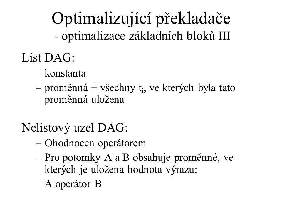 Optimalizující překladače - optimalizace základních bloků III List DAG: –konstanta –proměnná + všechny t i, ve kterých byla tato proměnná uložena Nelistový uzel DAG: –Ohodnocen operátorem –Pro potomky A a B obsahuje proměnné, ve kterých je uložena hodnota výrazu: A operátor B