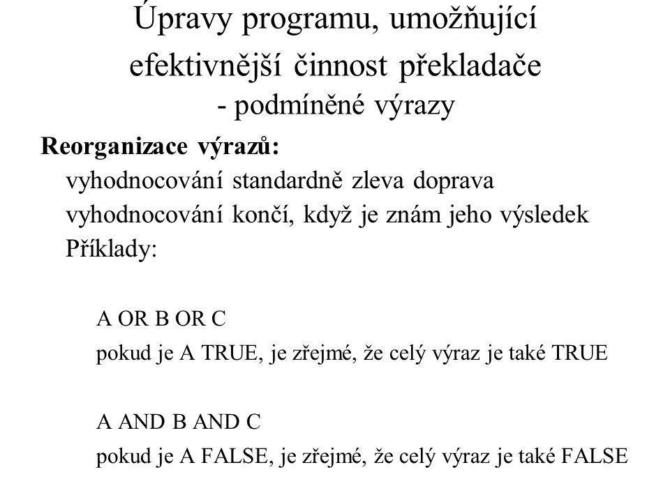 Úpravy programu, umožňující efektivnější činnost překladače - podmíněné výrazy Reorganizace výrazů: vyhodnocování standardně zleva doprava vyhodnocování končí, když je znám jeho výsledek Příklady: A OR B OR C pokud je A TRUE, je zřejmé, že celý výraz je také TRUE A AND B AND C pokud je A FALSE, je zřejmé, že celý výraz je také FALSE