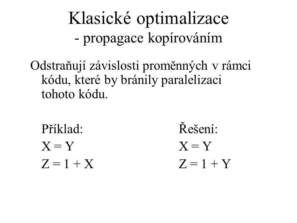 Klasické optimalizace - propagace kopírováním Odstraňují závislosti proměnných v rámci kódu, které by bránily paralelizaci tohoto kódu.