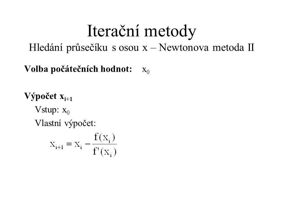 Iterační metody Hledání průsečíku s osou x – Newtonova metoda II Volba počátečních hodnot:x 0 Výpočet x i+1 Vstup: x 0 Vlastní výpočet: