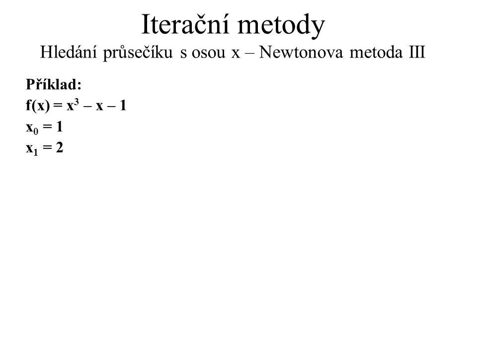 Iterační metody Hledání průsečíku s osou x – Newtonova metoda III Příklad: f(x) = x 3 – x – 1 x 0 = 1 x 1 = 2