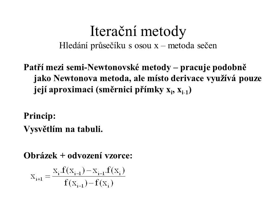 Iterační metody Hledání průsečíku s osou x – metoda sečen Patří mezi semi-Newtonovské metody – pracuje podobně jako Newtonova metoda, ale místo deriva