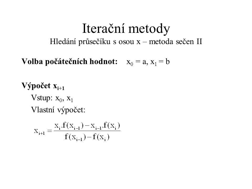 Iterační metody Hledání průsečíku s osou x – metoda sečen II Volba počátečních hodnot:x 0 = a, x 1 = b Výpočet x i+1 Vstup: x 0, x 1 Vlastní výpočet: