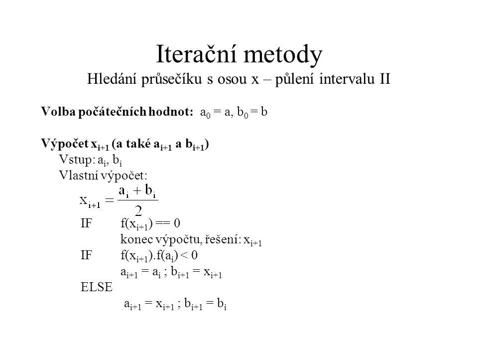 Iterační metody Hledání průsečíku s osou x – půlení intervalu II Volba počátečních hodnot:a 0 = a, b 0 = b Výpočet x i+1 (a také a i+1 a b i+1 ) Vstup