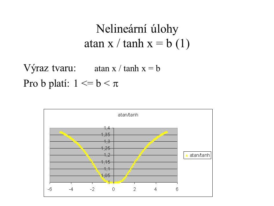 Nelineární úlohy atan x / tanh x = b(2) a) b  1 výraz tvaru: atan x / tanh x = b Musíme si uchovat rozdíl mezi 1 a b => použijeme substituci b = 1 +  (  je malé) Upravujeme: atan x = (1 +  ) tanh x atan x – tanh x = .