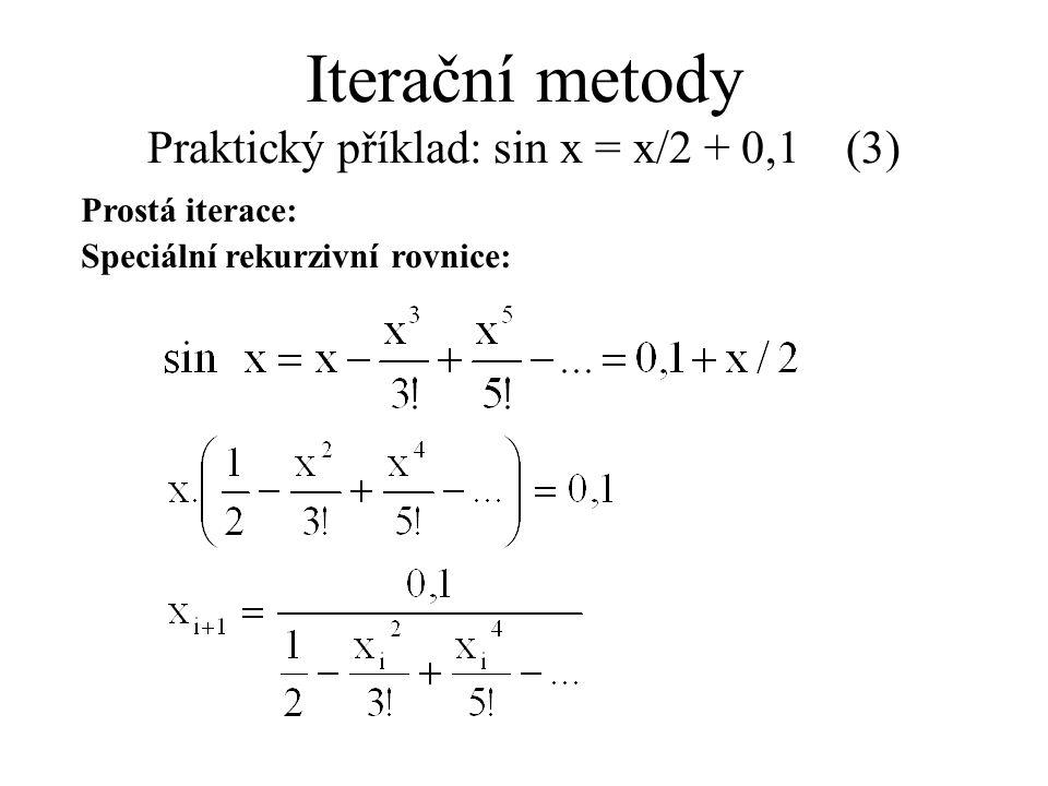Prostá iterace: Speciální rekurzivní rovnice: Iterační metody Praktický příklad: sin x = x/2 + 0,1 (3)