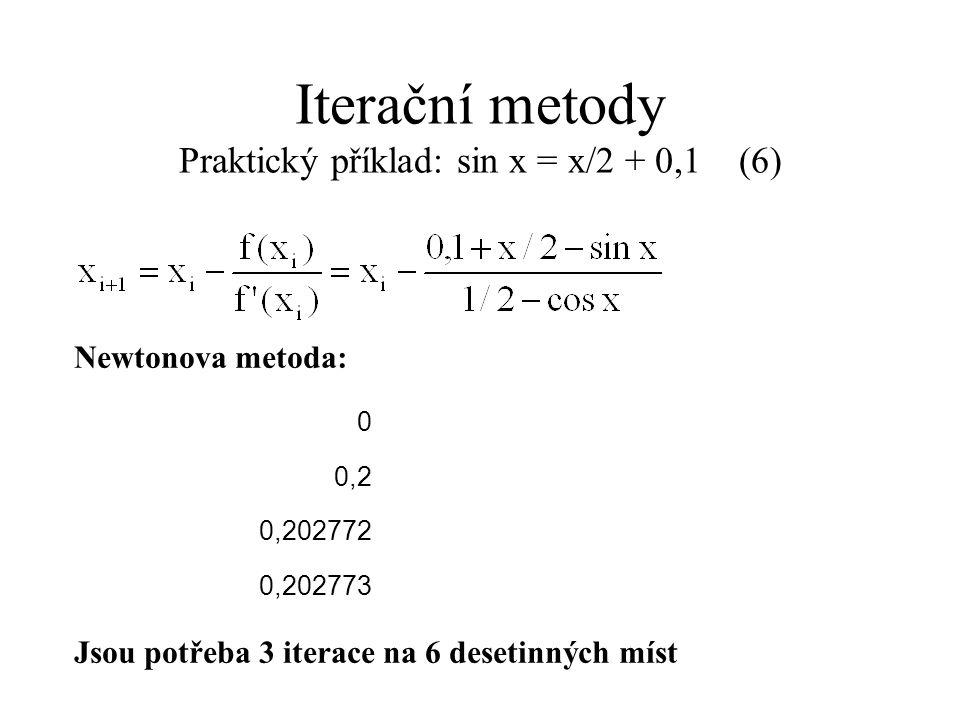 Newtonova metoda: Jsou potřeba 3 iterace na 6 desetinných míst Iterační metody Praktický příklad: sin x = x/2 + 0,1 (6) 0 0,2 0,202772 0,202773