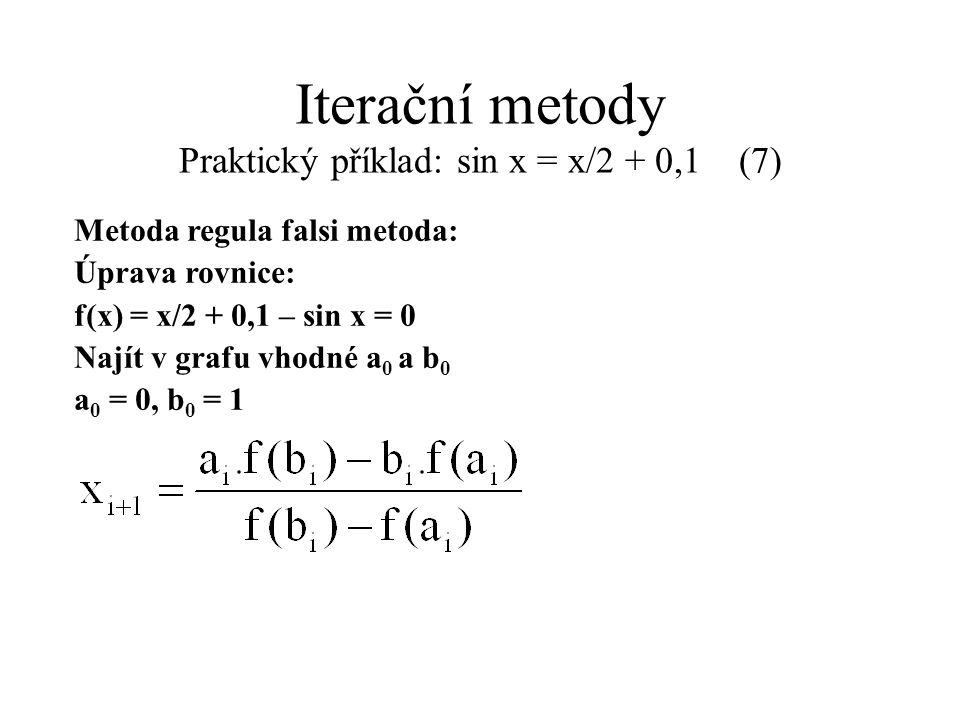 Iterační metody Praktický příklad: sin x = x/2 + 0,1 (7) Metoda regula falsi metoda: Úprava rovnice: f(x) = x/2 + 0,1 – sin x = 0 Najít v grafu vhodné
