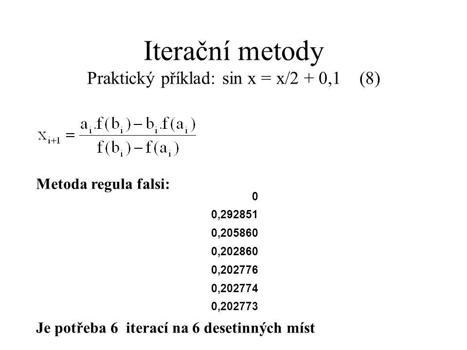 Iterační metody Praktický příklad: sin x = x/2 + 0,1 (8) Metoda regula falsi: Je potřeba 6 iterací na 6 desetinných míst 0 0,292851 0,205860 0,202860