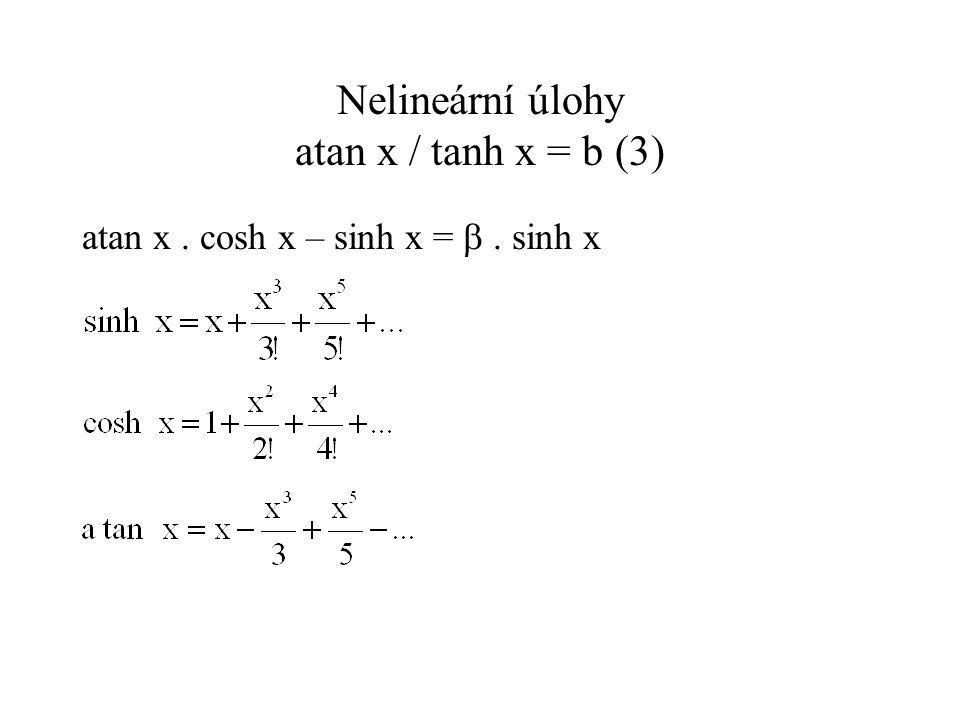 Nelineární úlohy atan x / tanh x = b(4) t = x 2 ; f(t) je kontrakce (alespoň na [-0,2, 0,2]) iteruji