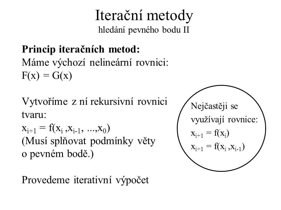 Iterační metody hledání pevného bodu II Princip iteračních metod: Máme výchozí nelineární rovnici: F(x) = G(x) Vytvoříme z ní rekursivní rovnici tvaru