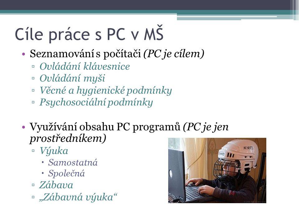 Cíle práce s PC v MŠ Seznamování s počítači (PC je cílem) ▫Ovládání klávesnice ▫Ovládání myši ▫Věcné a hygienické podmínky ▫Psychosociální podmínky Vy