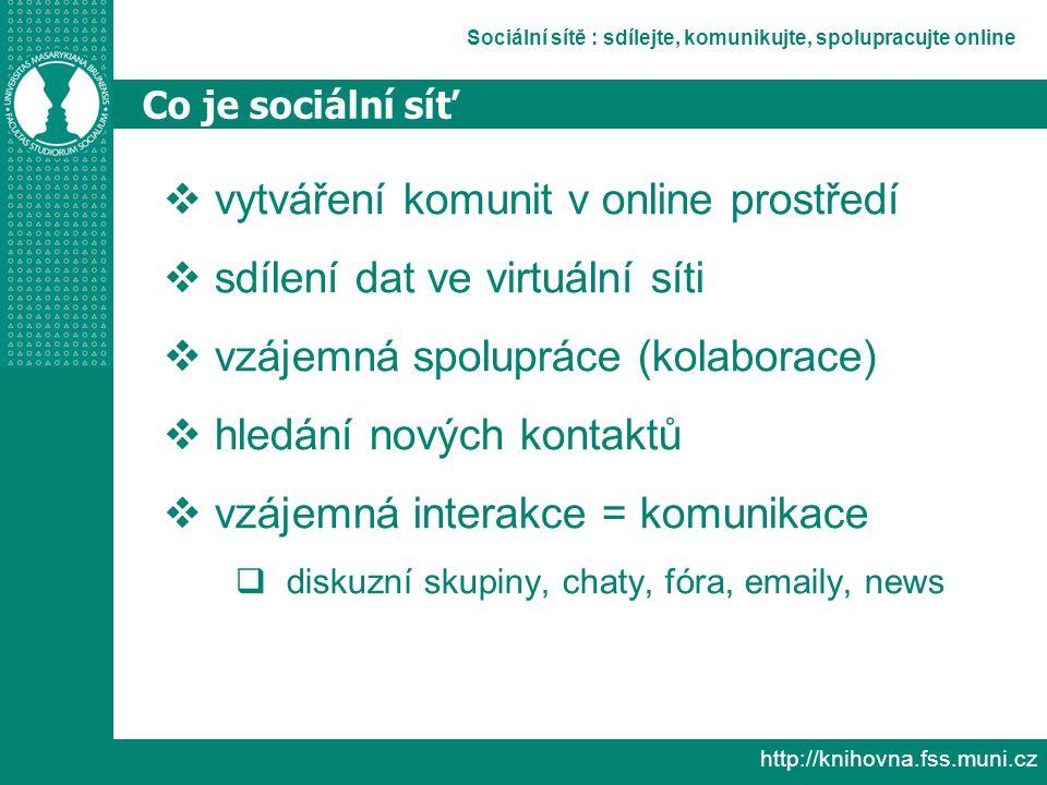 Sociální sítě : sdílejte, komunikujte, spolupracujte online http://knihovna.fss.muni.cz Co je sociální síť  vytváření komunit v online prostředí  sdílení dat ve virtuální síti  vzájemná spolupráce (kolaborace)  hledání nových kontaktů  vzájemná interakce = komunikace  diskuzní skupiny, chaty, fóra, emaily, news