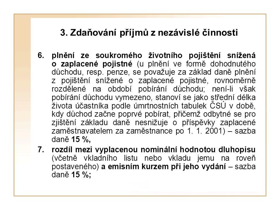 3. Zdaňování příjmů z nezávislé činnosti 6.plnění ze soukromého životního pojištění snížená o zaplacené pojistné (u plnění ve formě dohodnutého důchod