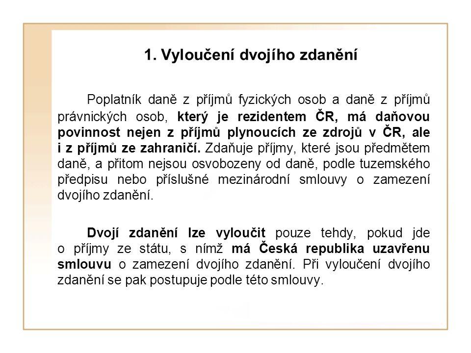 1. Vyloučení dvojího zdanění Poplatník daně z příjmů fyzických osob a daně z příjmů právnických osob, který je rezidentem ČR, má daňovou povinnost nej