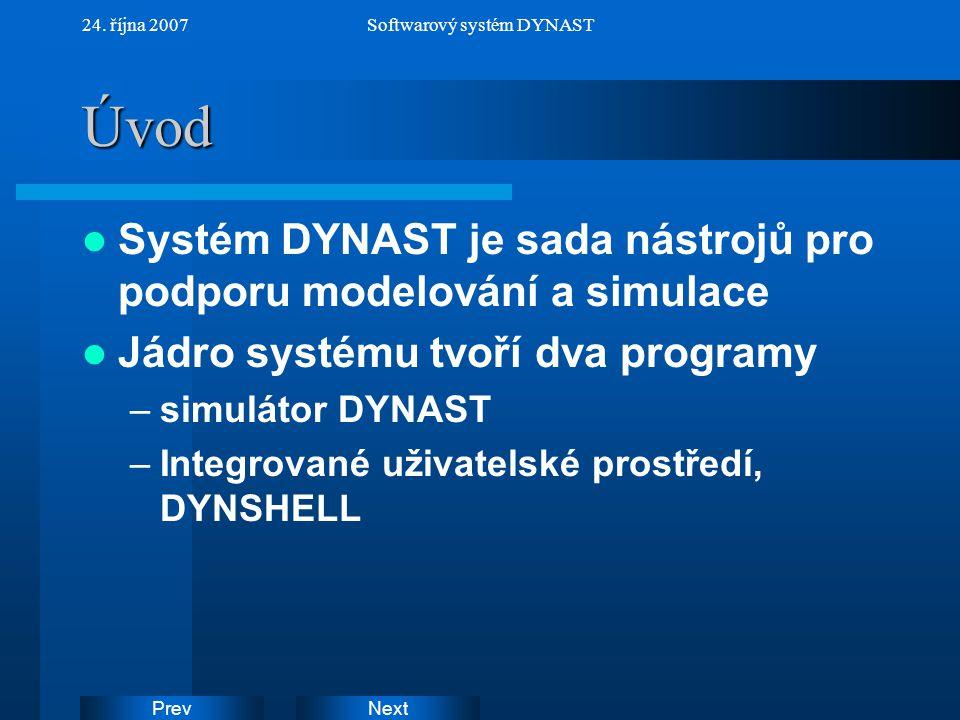 NextPrev 24. října 2007Softwarový systém DYNASTÚvod Systém DYNAST je sada nástrojů pro podporu modelování a simulace Jádro systému tvoří dva programy