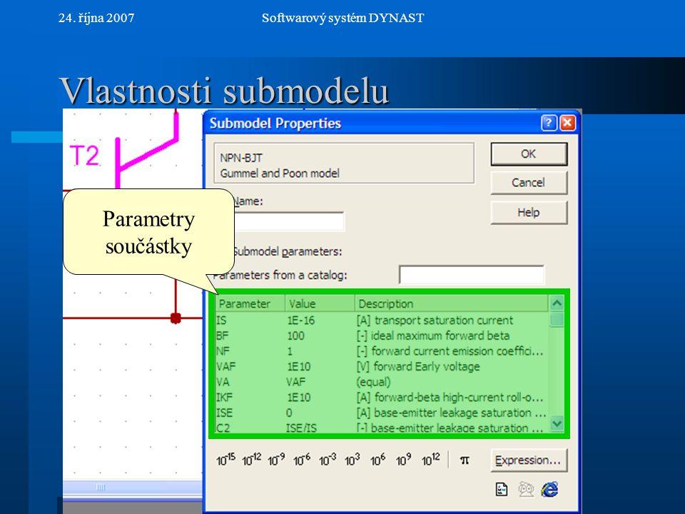 NextPrev 24. října 2007Softwarový systém DYNAST Vlastnosti submodelu Parametry součástky