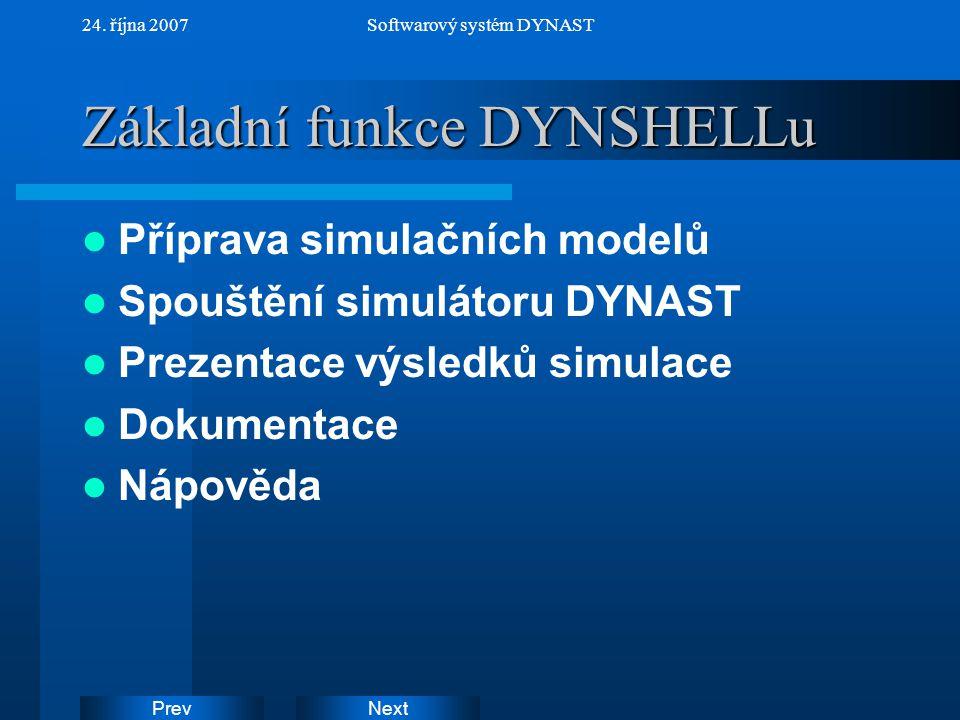 NextPrev 24. října 2007Softwarový systém DYNAST Základní funkce DYNSHELLu Příprava simulačních modelů Spouštění simulátoru DYNAST Prezentace výsledků