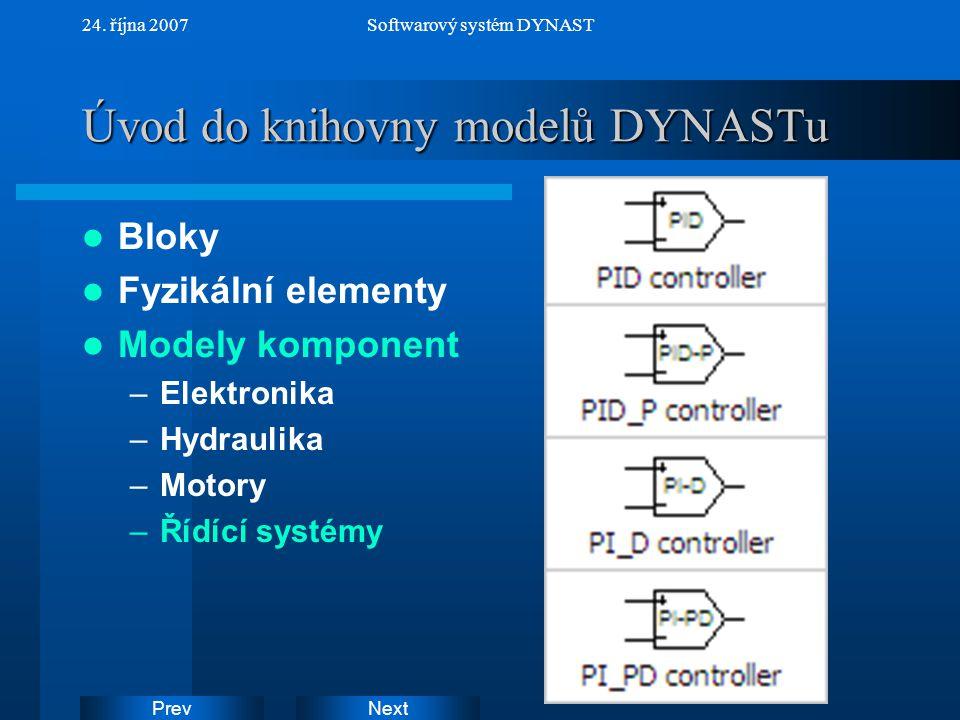 NextPrev 24. října 2007Softwarový systém DYNAST Úvod do knihovny modelů DYNASTu Bloky Fyzikální elementy Modely komponent –Elektronika –Hydraulika –Mo