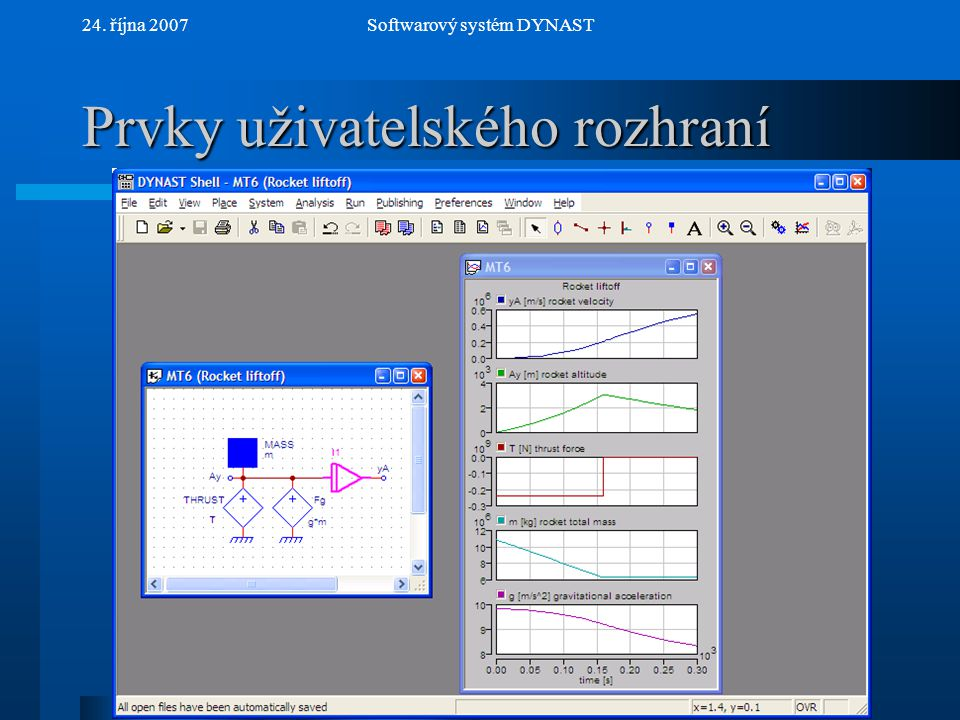 NextPrev 24. října 2007Softwarový systém DYNAST Prvky uživatelského rozhraní Hlavní okno aplikace